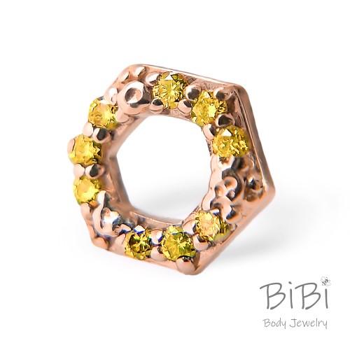 BiBi Body Jewelry, 14KR Yellow Diamond Honeycomb 1