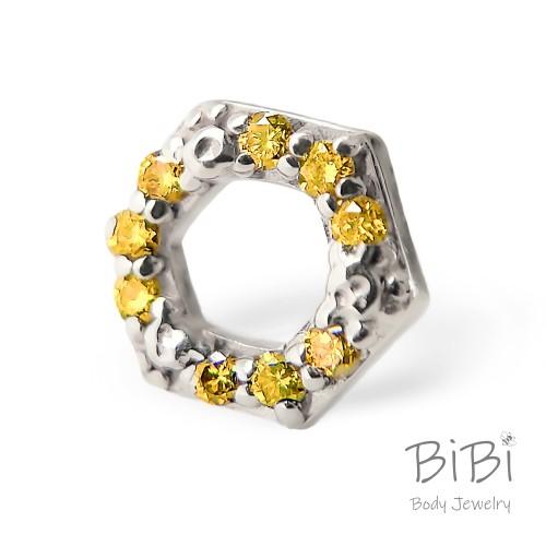 BiBi Body Jewelry, 14KW Yellow Diamond Honeycomb 1