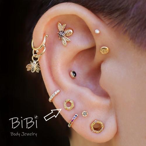 BiBi Body Jewelry, 14KY Yellow Diamond 4mm Honeycomb, on Ear 1