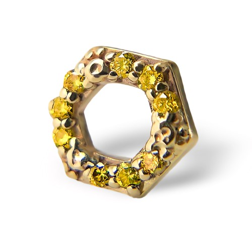 BiBi Body Jewelry, 14KY Yellow Diamond Honeycomb, No Logo