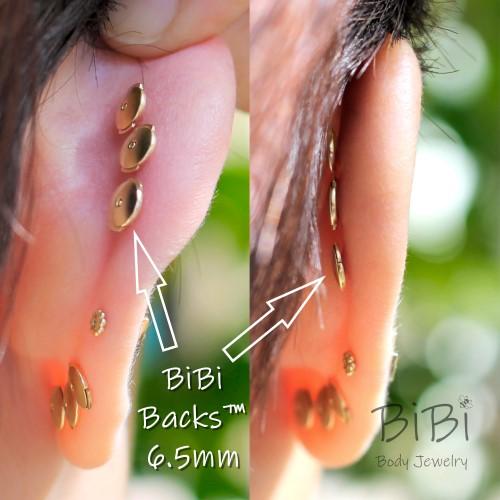 BiBi Backs the locking flat back earrings by BiBi Body Jewelry shown on Ear