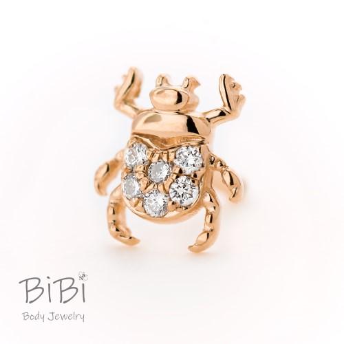 BiBi Body Jewelry, 14KR Diamond Beetle Stud Earring
