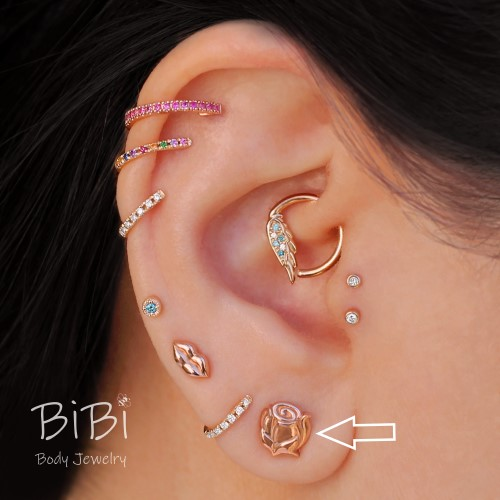 BiBi Body Jewelry, 14KR Rose Bud Stud Earring 1, on Ear 1