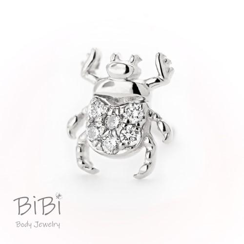 BiBi Body Jewelry, 14KW Diamond Beetle Stud Earring