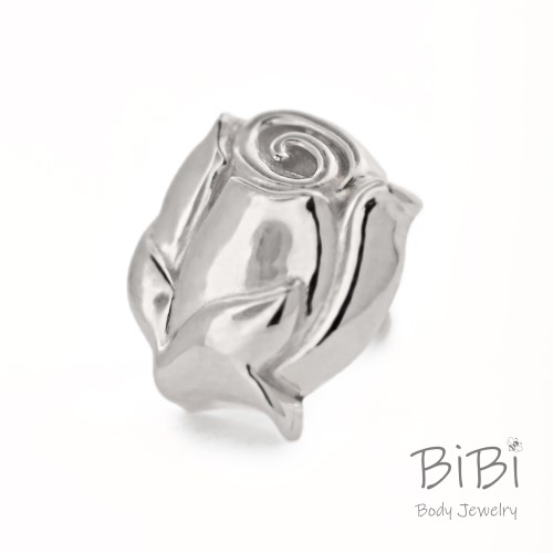 BiBi Body Jewelry, 14KW Rose Bud Stud Earring