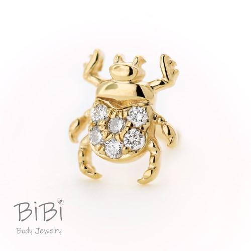 BiBi Body Jewelry, 14KY Diamond Beetle Stud Earring 1