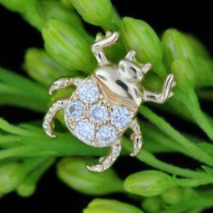 BiBi Body Jewelry, 14KY Diamond Beetle Stud Earring