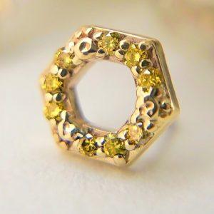 BiBi Body Jewelry, 14KY Yellow Diamond Honeycomb