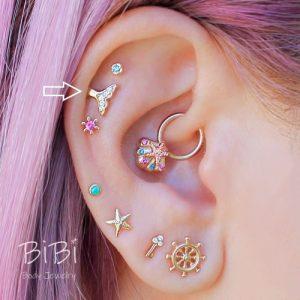 BiBi Body Jewelry, 14KY Diamond Mermaid Tail Stud Earring 1, on Ear 1