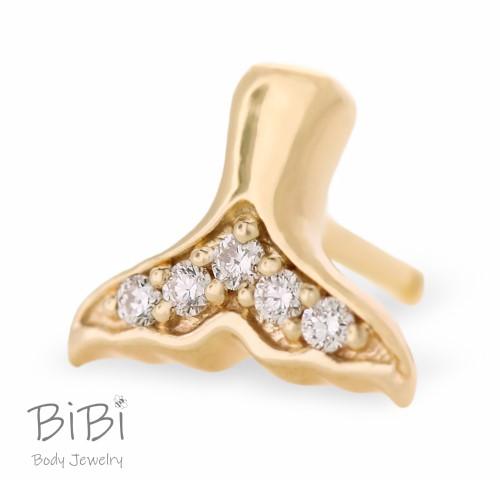 BiBi Body Jewelry, 14KY Diamond Mermaid Tail Stud Earring 1