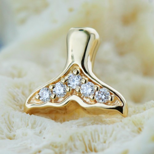 BiBi Body Jewelry, 14KY Diamond Mermaid Tail Stud Earring