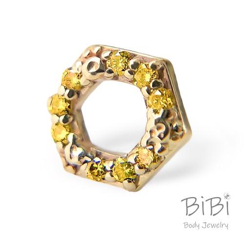 BiBi Body Jewelry, 14KY Yellow Diamond Honeycomb 1