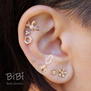 BiBi Body Jewelry, 14KY Bee Stud Earring on Ear 1